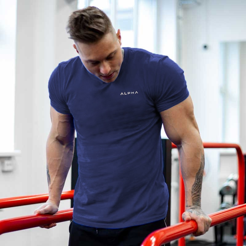 2019 New Brand Clothing Tight Cotton T-shirt Mens alpha Fitness T-shirt Homme Workout T Shirt Men Fitness Summer Tees Tops