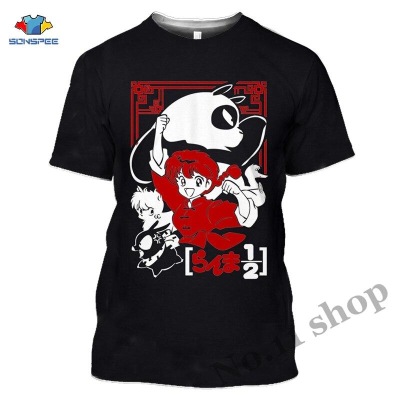 Frauen Anime T Shirts Ranma 12 1/2 T Hemd Cartoon Lustige Brief Drucken T-Shirt Punk Rock Herren Kurzarm Shirts panda Streetwear