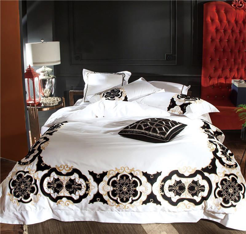 100S algodón egipcio blanco negro bordado de lujo Juego de cama real tamaño King J/6PcsDuvet cover Juego de sábanas de lino