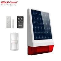 Wolf-Guard     systeme dalarme de securite domestique sans fil  a energie solaire  Kit de bricolage  sirene clignotante LED  resistant aux intemperies  pour lexterieur  anti-cambriolage