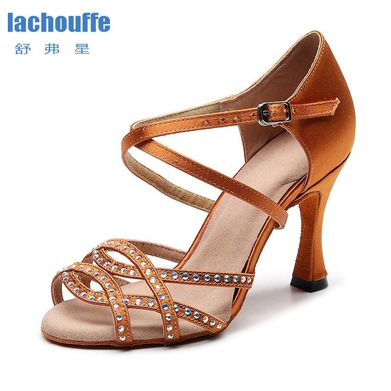 Mulheres sapatos de dança latina strass mulher marrom salto alto personalizado tango salsa sapatos de dança menina mancha de seda sandálias de festa de casamento