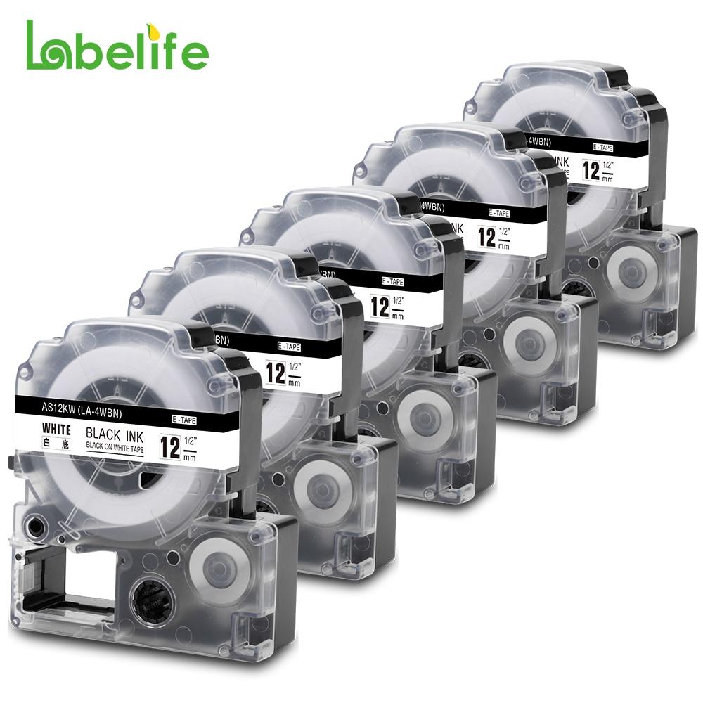 Labelife 5Pack SS12KW LC-4WBN متوافق إبسون LabelWorks LK الشريط القياسية 12 مللي متر أسود على الأبيض لصانعي LW-300 ، LW-400 LW-600P
