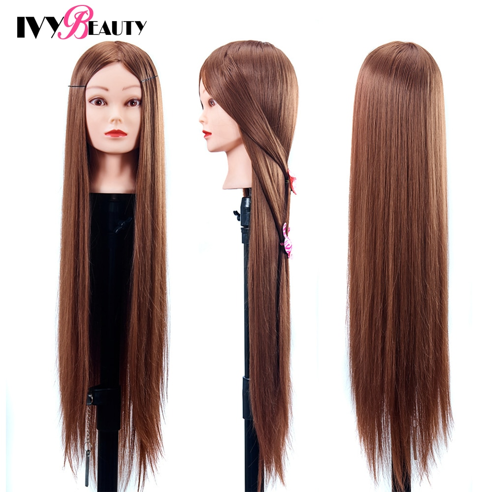 80cm Professional Head Dolls For Hairdresser 30Inch Synthetic Hair Female Mannequin Head Model Hairdressing Styling Head For Pra