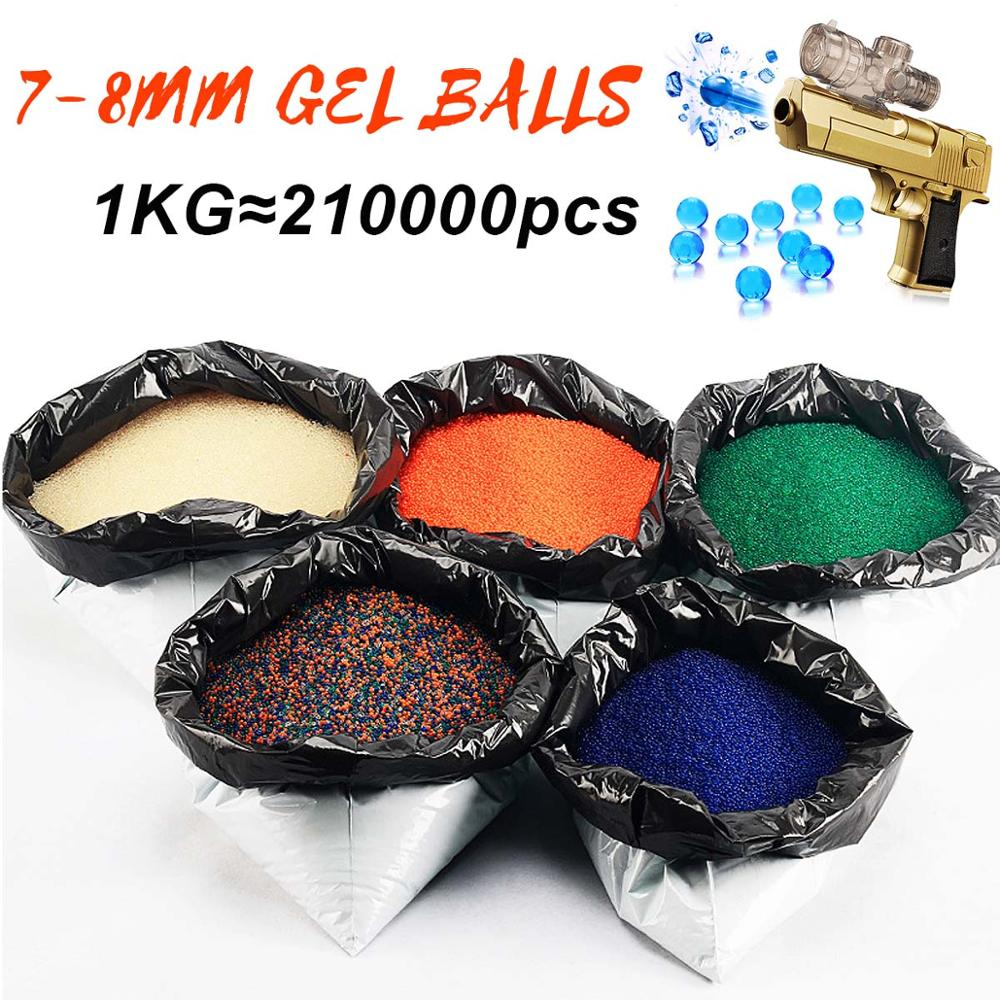 1 KG/Lot boules de Gel cristal perle deau 7-8mm balle durcie 5 couleurs pour jouet pistolet décor à la maison Gel pistolet Blaster jouet Gel boules ensemble