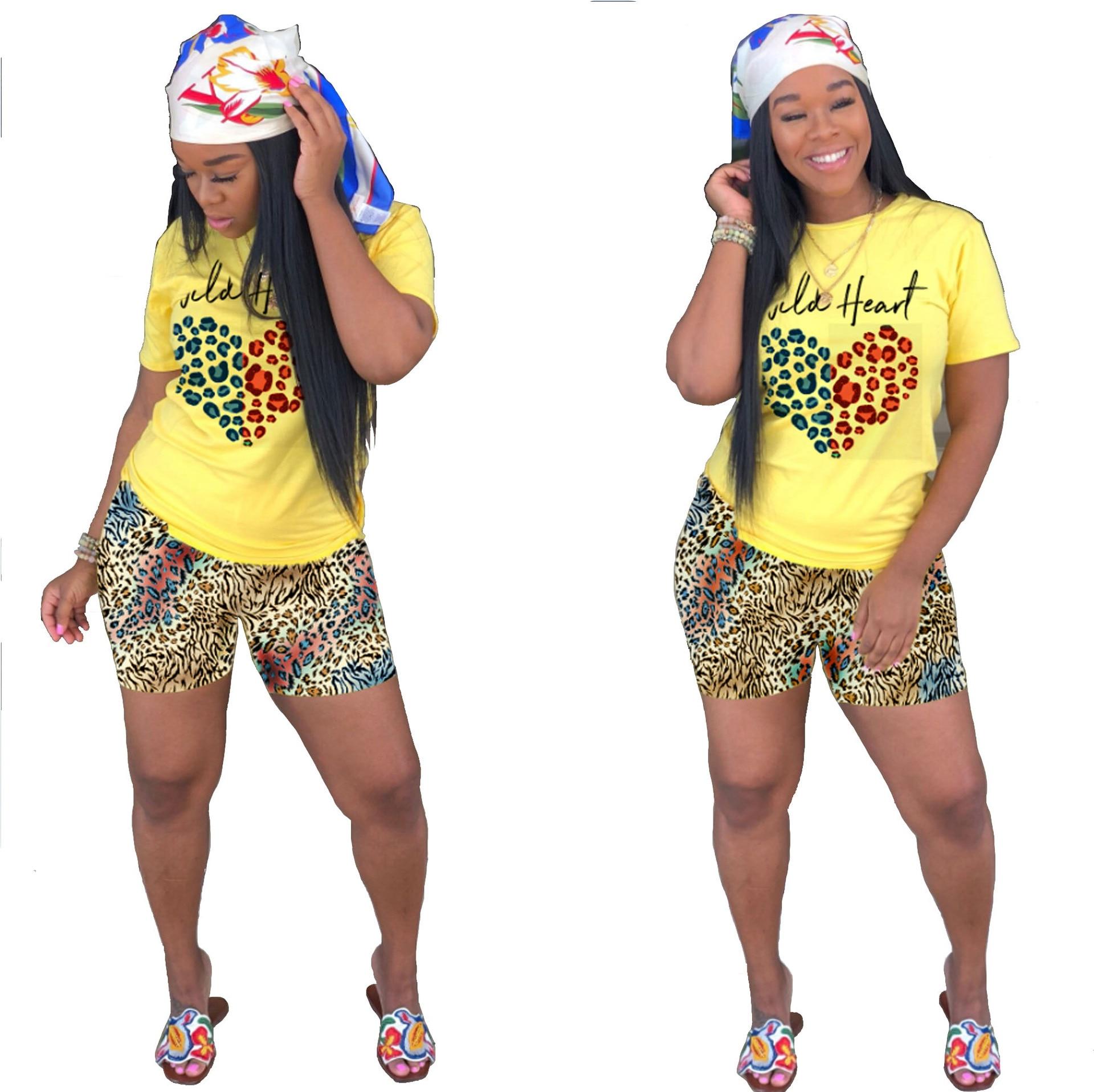 Fashion 2 piece set women short sleeve top and biker shorts two piece set streetwear spliced tide outfit