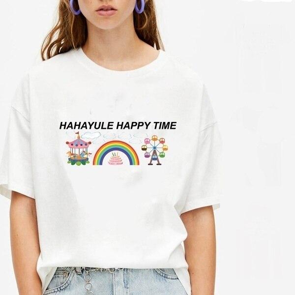Sunfiz YF Hahayule Happy Time time-go-round y noria cielo Weel gráfico Tee mujeres abeja feliz impresión bonita Camiseta de algodón
