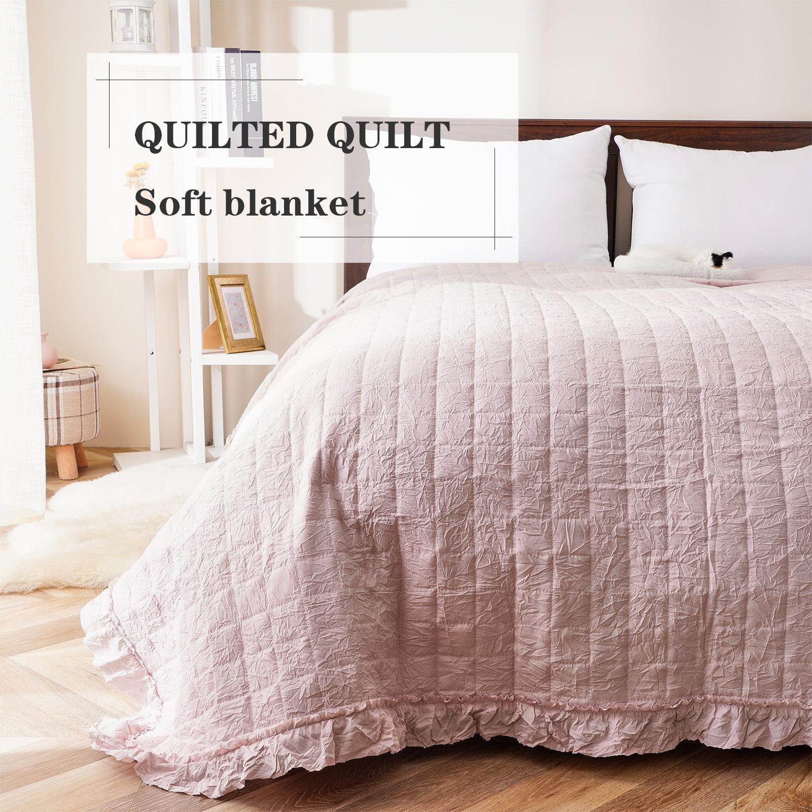 Новое стеганое одеяло в Корейском стиле, тонкое стеганое одеяло в Корейском стиле для двуспальной кровати, двуспальной кровати, розовое лет... недорого