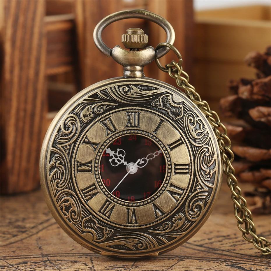 Crni rimski brojevi kvarcni džepni sat muškarci žene crna šuplja - Pocket satovi - Foto 6