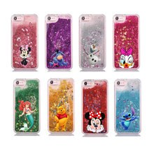 Luxury Glitter Star Water Liquid Phone Case for iPhone 11 Pro Max Cute Cartoon Mermaid Mickey Stitch Bear Mermaid Soft Cover