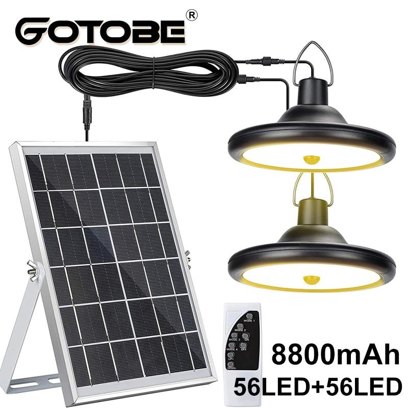 Upgraded 8800mAh Solar Outdoor Light Double Head 112 LED Motion Sensor Waterproof Solar Shed Light For Courtyard Garden Garage