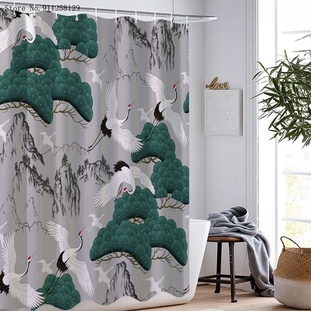 Chinese Style Shower Curtains 3D Print Crane Bathroom Curtain Waterproof Polyester Mountain Tree Landscape Shower Curtain christmas log cabin snowmen tree printed shower curtain