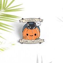 Joyeux Halloween citrouille émail épingle chat noir fantôme sorcière Punk broche sac à dos vêtements épinglette Halloween bijoux vacances cadeau