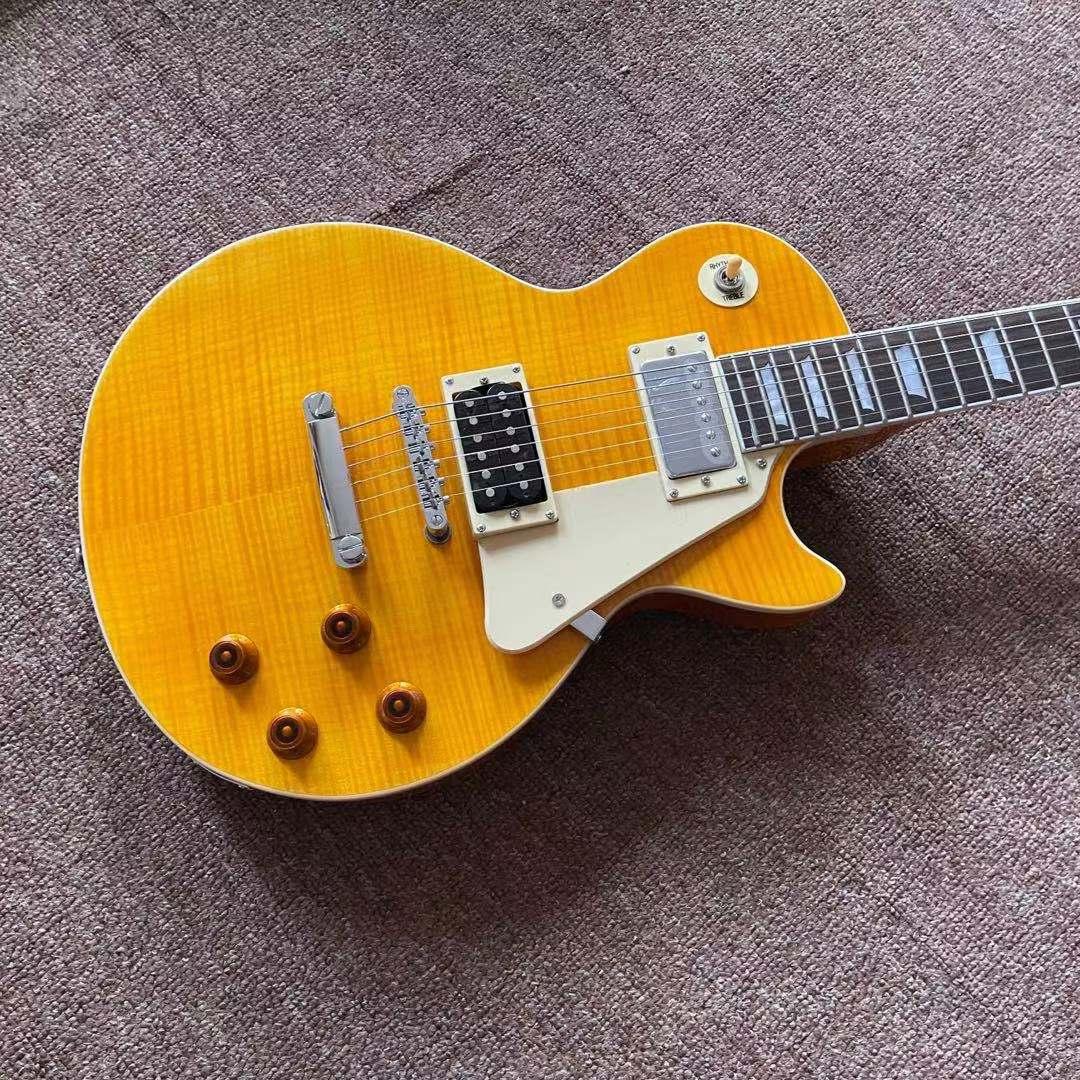 Custom Standard Electric Guitar.high quality pickups.handmade 6 stings guitarra.Tiger flame maple top gitaar.mahogany body. enlarge