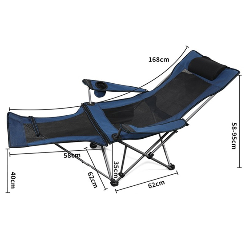 Outdoor Portable Adjustable Recliner Camping Folding Chair With Cup Holder And Footrest Ultralight Office Lunch Break Single Bed enlarge