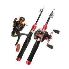 Carbon Fishing Pole Mini Telescopic Hard Fishing Rod Short Bait Casting Spinning Rod Travel Rod with Reel