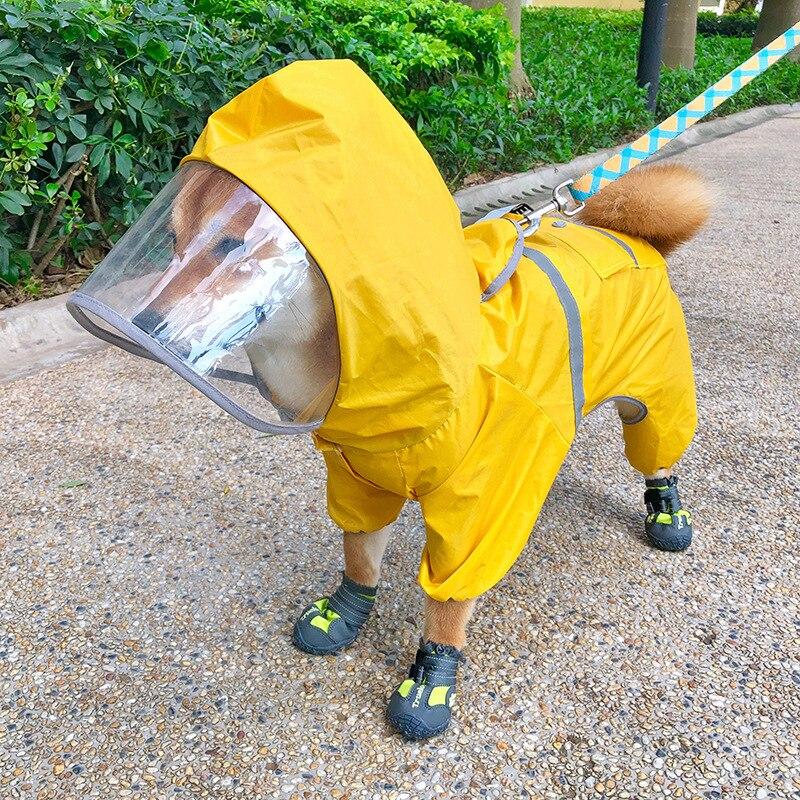 ¡Novedad! Impermeable amarillo para perro de cuatro pies, impermeable, suministros para mascotas, ropa/perro Bichón Schnauzer Shiba Inu impermeable todo incluido