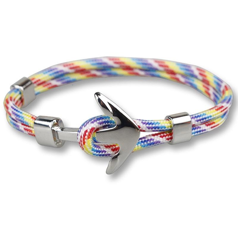Fashion Men Bracelets Women Couple Gifts Wrap Braided Wristband Nylon Bracelet Men Rope Silver Alloy Hook Anchor Bangle Jewelry