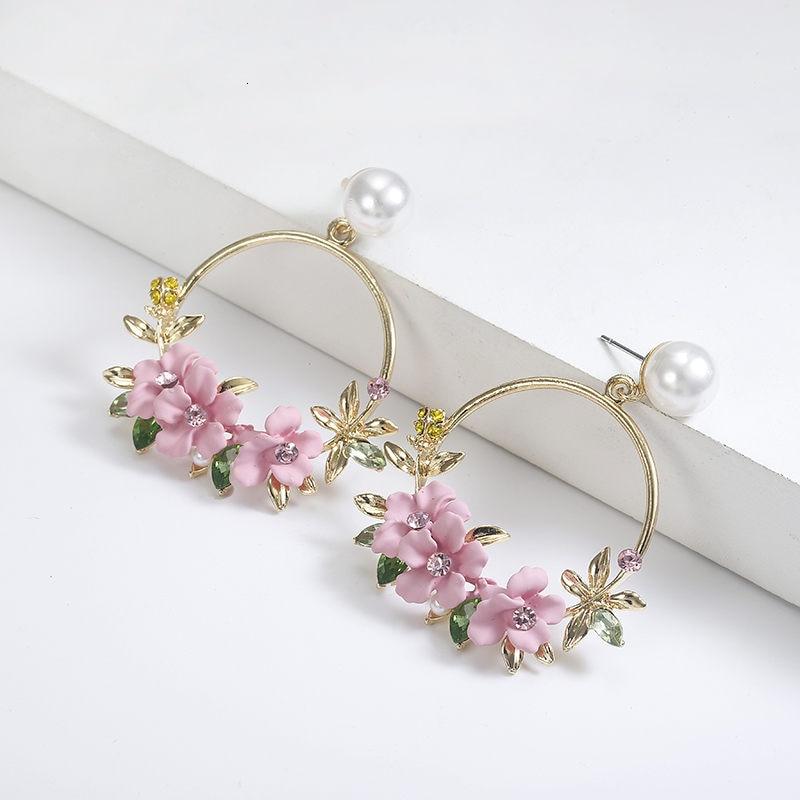 Elegante tela resina Rosa flor pendientes para mujer moda Color púrpura cristal gran gota oreja Venta caliente Brincos 2019 oorbellens