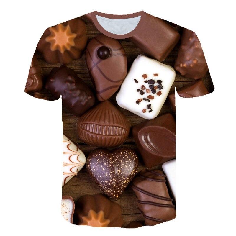 Повседневная Женская креативная футболка с шоколадом/конфетами, женская футболка размера плюс с коротким рукавом и круглым вырезом, футболка с 3D Дизайном