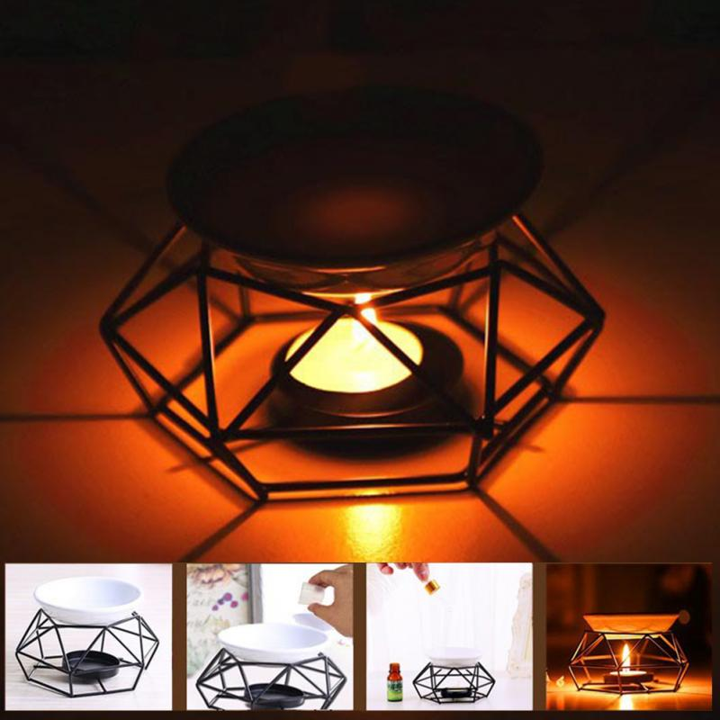 Oil Burner Home Decor Aromatherapy Crafts Candle Yoga Black Gifts Iron Indoor Spa Aroma Diffuser