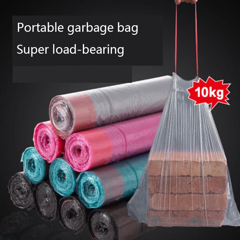Household portátil engrossado saco de lixo com cordão encerramento da cozinha de lixo saco de lixo descartável super grande carga-rolamento
