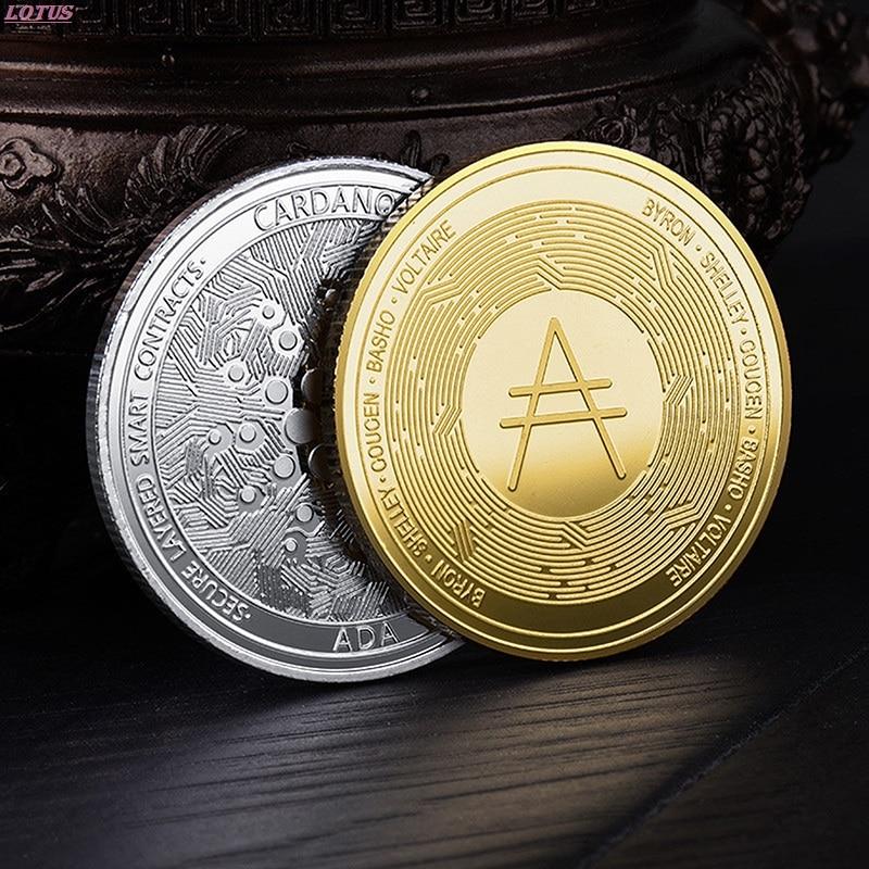 Позолоченная монета Кардано ADA, криптовалюта, физическая коллекция, металлическая монета, популярная