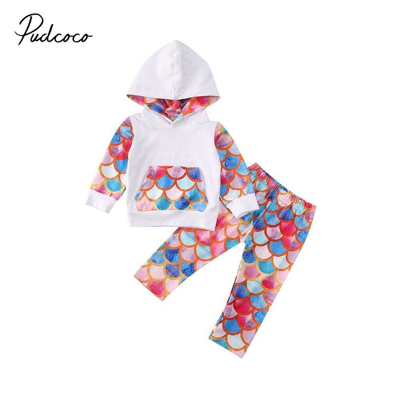 Pudcoco, ropa bonita de sirena para bebés recién nacidos, Sudadera con capucha, pantalones florales, conjunto de 2 uds, conjunto de chándal de algodón para niños