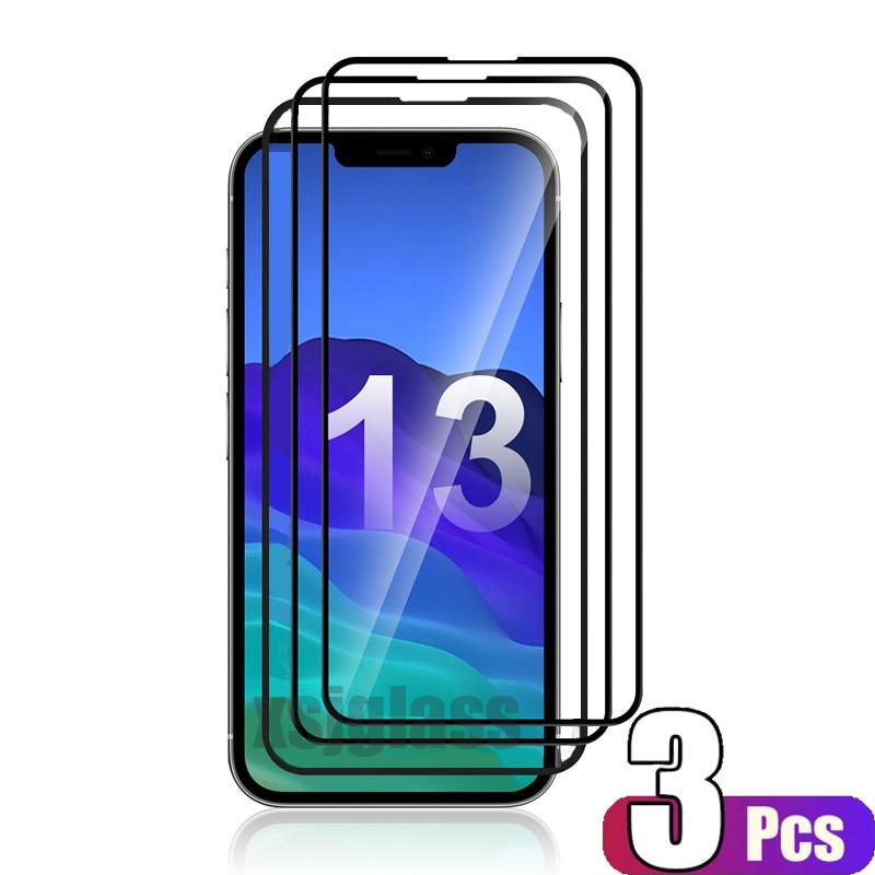Protecteur d'écran 9D pour iPhone, 3 pièces, couverture complète en verre trempé, pour modèles 6 S Plus, 8, 7, 8, 13, 11, 12, Mini Pro Max, X S, XR, XS Max