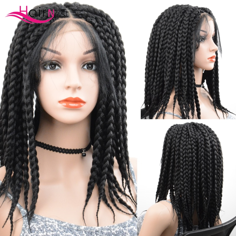 Hair Nest Diy Synthetic Braided Box braids Wig Soft DistressedLocs Lace Front Wigs For Black Women Spring Twist wig