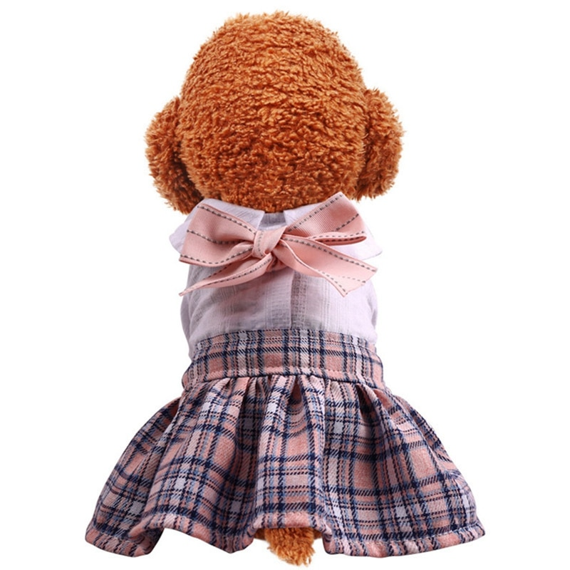 Summer Dress for Dog Pets Clothes Classic Plaid Skirt Puppy Clothing Spring Dresses Dogs Cute Pet XS-L