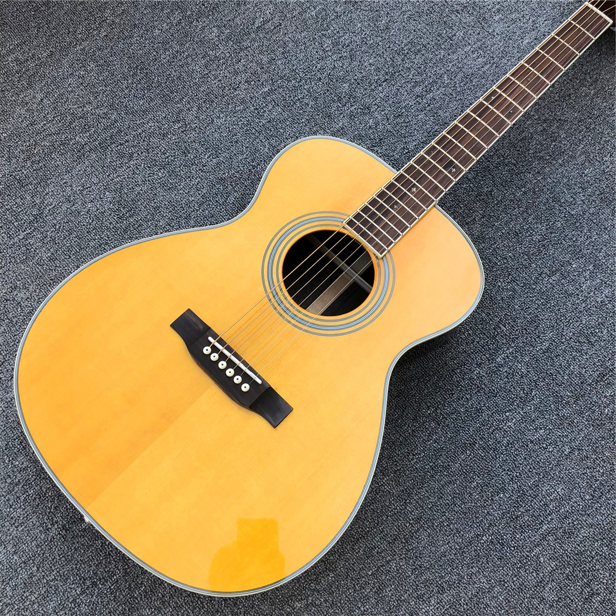 40 Inches Yellow Solid Spruce Top OM Style Acoustic Guitar with Rosewood Body