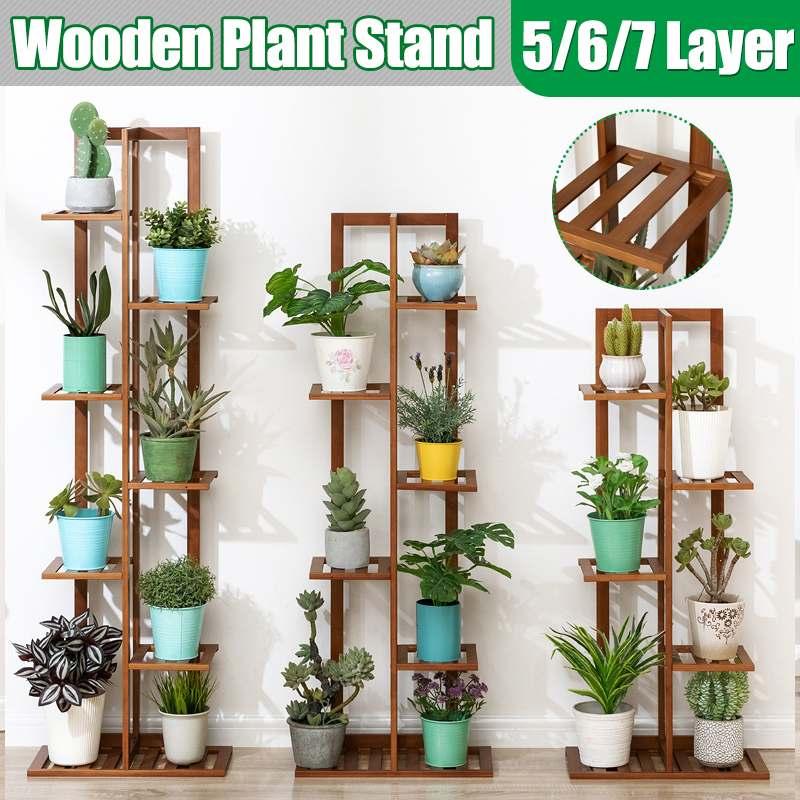 5/6/7 Tier Bamboo Plant Shelves Flower Pot Holder Garden Rack Display Stand Succulent Plants Home Balcony Modern Decoration