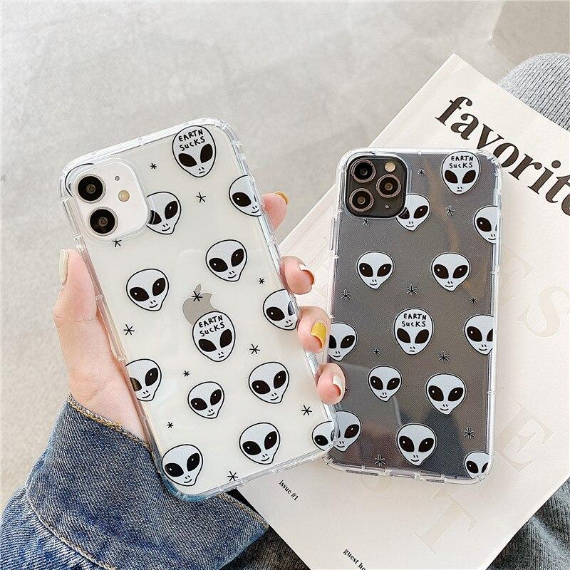 Moda e. t. Capa de telefone extra-terrestre para iphone 11 pro max x 7 8 plus xr xs max capa traseira capa macia transparente bonito capa