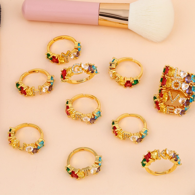 Anillos de mujer bonitos accesorios 26 anillos con letras Incrustaciones de oro Color circón regalo de aniversario novias con joyas de pareja