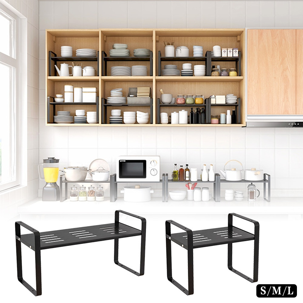 Kitchen Accessories Cabinet Cupboard Storage Shelf Organizers Stackable Pantry Racks Sturdy Carbon Steel For Organize Bowl Plate