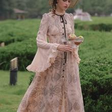 Maxi Dresses For Women Spring Vintage Elegant Slim Embroidery Chiffon Dress Big Flare Sleeve Single