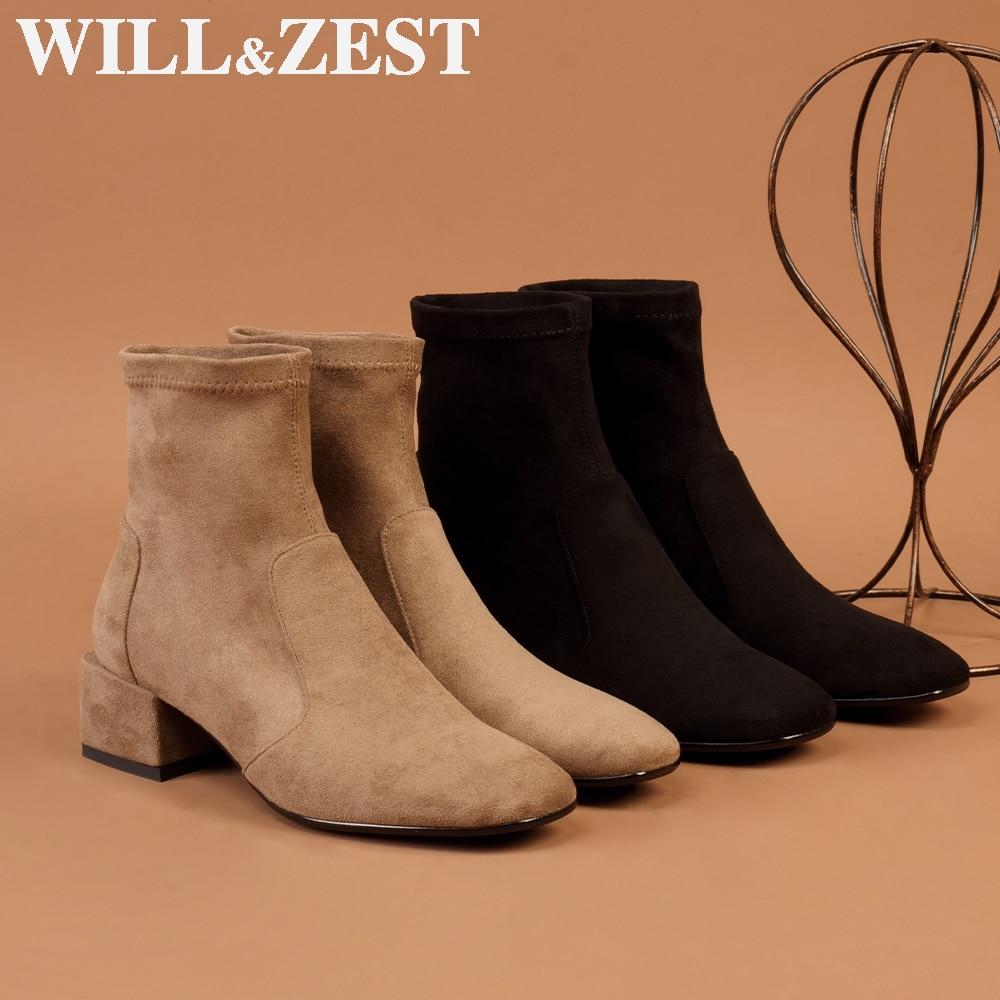 Will & Zest-أحذية نسائية قابلة للتمدد ، أحذية شتوية منخفضة الكعب ، جوارب مثيرة للنساء ، مجموعة خريف 2020 الجديدة