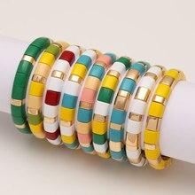 Emaille Stretch Armbänder Für Frauen Armbandjes Dames Pulsera Masculina Regenbogen Fliesen Barcelet GOLD Perlen Armband Männer Geschenk Schmuck