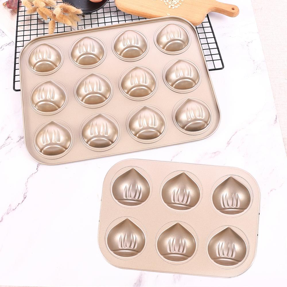 Molde antiadherente para tarta de castaña de 12 cavidades, molde para tarta, galletas, Fondant, molde para tarta, bandeja para horno, utensilios para hornear