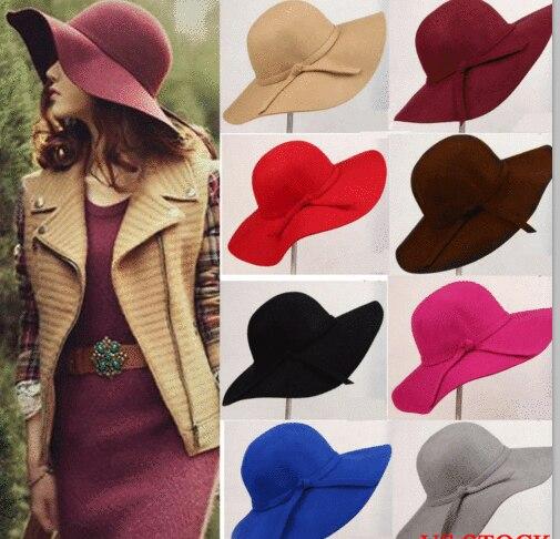 Sombrero de fieltro de lana de ala ancha para mujer, Estilo Vintage