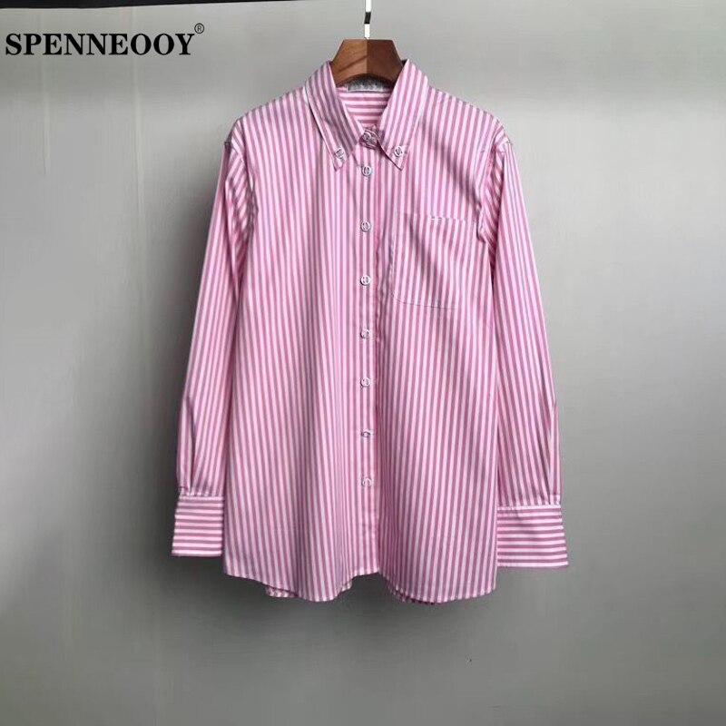 Camisetas SPENNEOOY de diseño personalizado para otoño, camiseta informal de moda para mujer, blusa con estampado a rayas de manga larga rosa para mujer