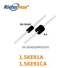 100 Pcs 1.5KE91 1.5KE91A 1.5KE91CA DO-201AD Hoge Kwaliteit