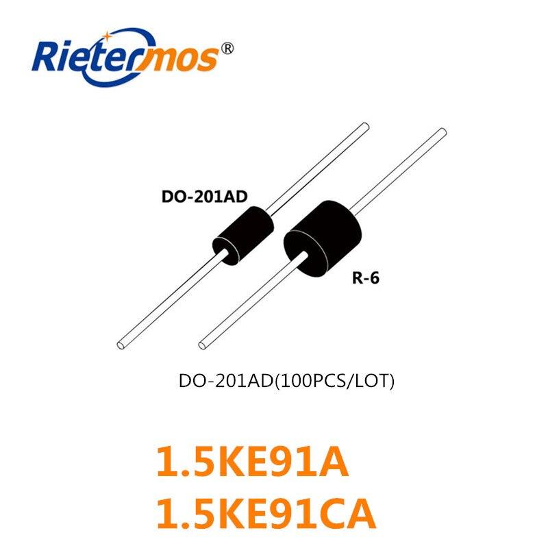 100PCS 1.5KE91 1.5KE91A 1.5KE91CA DO-201AD ALTA QUALIDADE