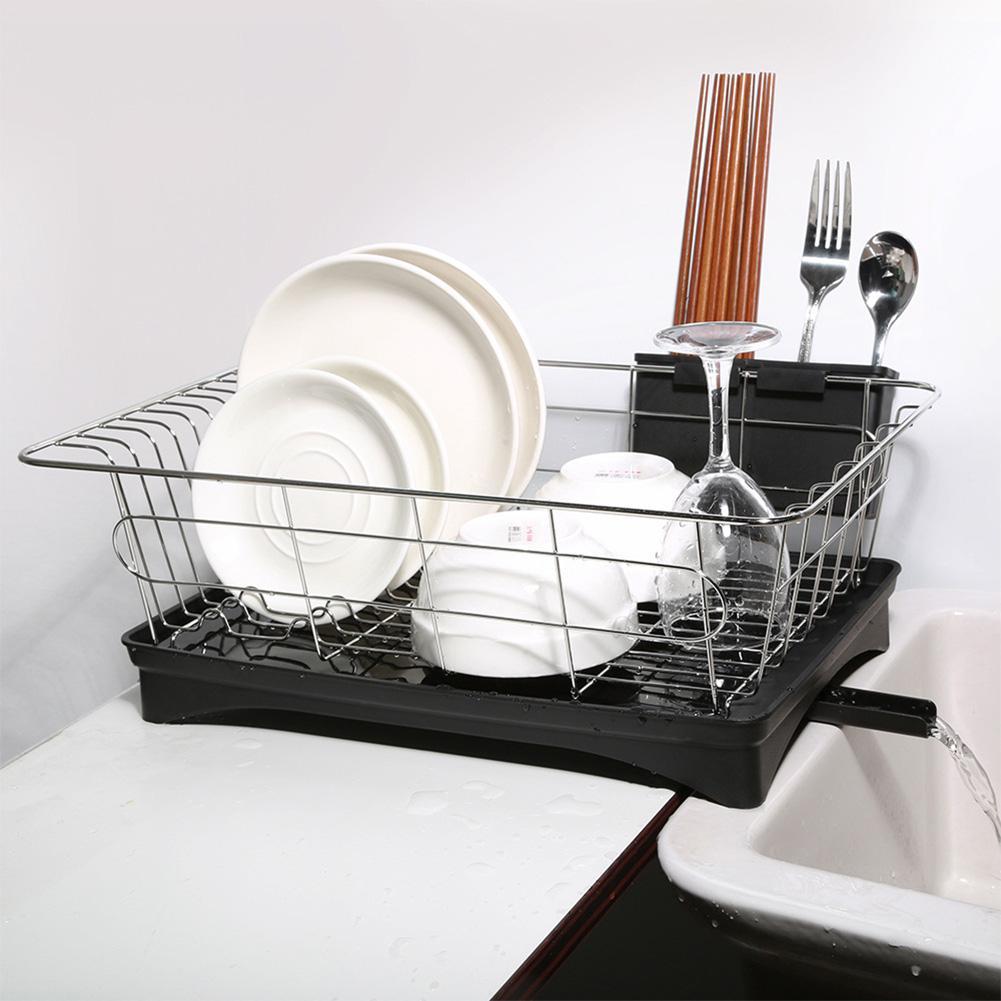 الفولاذ المقاوم للصدأ طبقة واحدة طبق رف منظم مطبخ تجفيف تجفيف لوحة الجرف بالوعة سكين شوكة حاوية الملحقات
