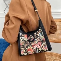 2020 vintage black female shoulder bags printed leather tote bag quality daily crossbody bag temperament ladies underarm bag sac