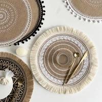linen braid coaster handmade macrame cup cushion bohemia boho style non slip cup mat table mat tablecloth coaster cup pad