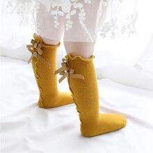 Enfants fille printemps été automne nouveau bord darc chaussettes enfant en bas âge personnalisé bébé fille belle dentelle chaussettes nouveau-né genou haute chaussette infantile