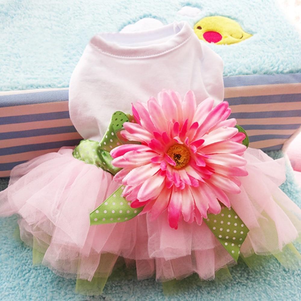Margarita gasa tutú falda primavera cachorro mascota perro vestido ropa girasol linda princesa boda vestido de fiesta vestido de verano gato corto