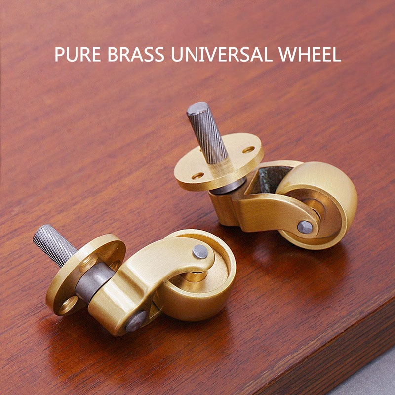 4 قطعة/الوحدة الثقيلة دوارة المسمار عجلات عجلات ، النحاس النقي Vintage عجلات عجلات للأثاث كرسي البيانو خزانة قدم