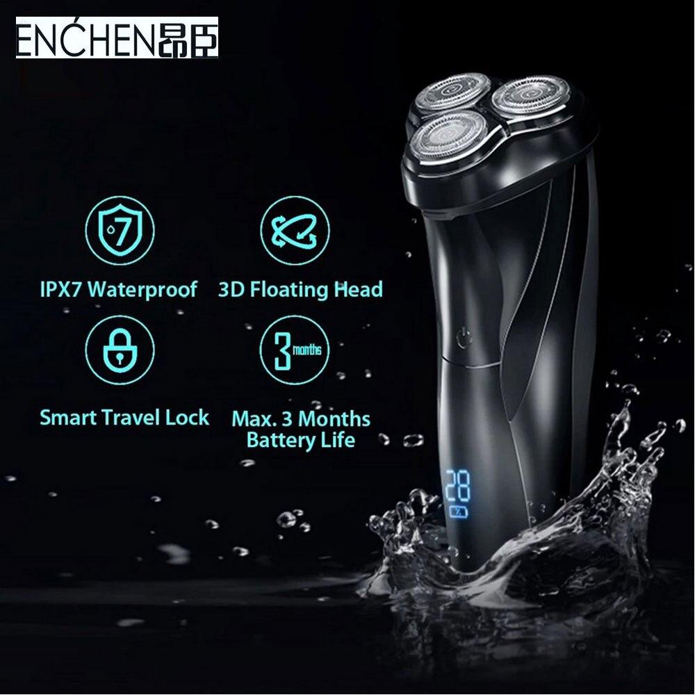 ماكينة حلاقة الوجه للرجال من Enchen ماكينة حلاقة كهربائية ثلاثية الأبعاد قابلة للغسل مزودة بـ USB قابلة للشحن ماكينة حلاقة اللحية Barbeador جديد 2020